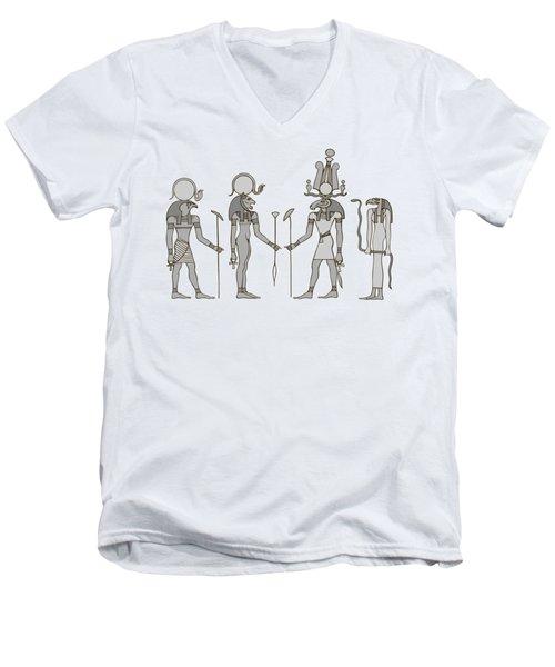 Gods Of Ancient Egypt Men's V-Neck T-Shirt by Michal Boubin