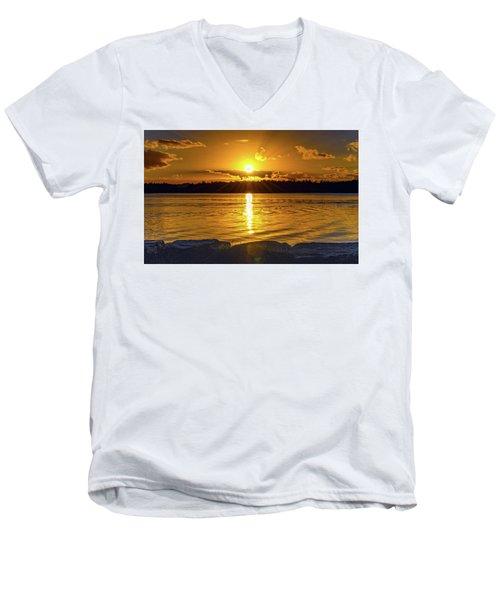 Golden Sunrise Waterscape Men's V-Neck T-Shirt