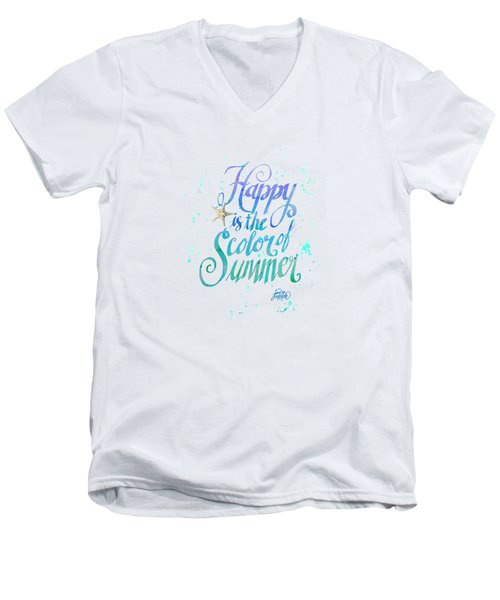 Happy Is The Color Of Summer  By Jan Marvin Men's V-Neck T-Shirt