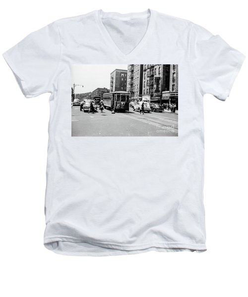 Men's V-Neck T-Shirt featuring the photograph Inwood Trolley  by Cole Thompson
