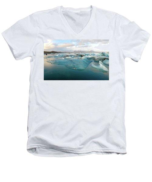 Jokulsarlon The Glacier Lagoon, Iceland 2 Men's V-Neck T-Shirt by Dubi Roman
