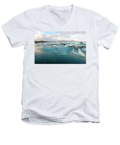 Jokulsarlon The Glacier Lagoon, Iceland 2 Men's V-Neck T-Shirt