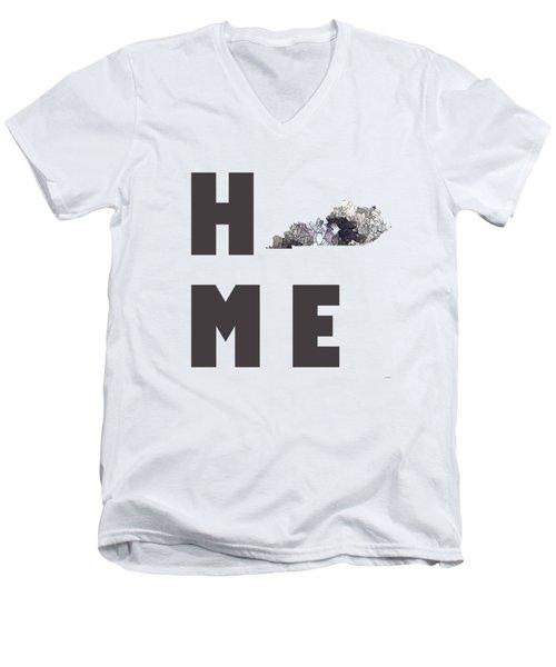 Men's V-Neck T-Shirt featuring the digital art Kentucky State Map by Marlene Watson
