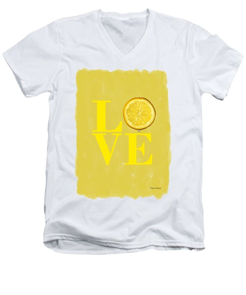 Lemon Men's V-Neck T-Shirt by Mark Rogan