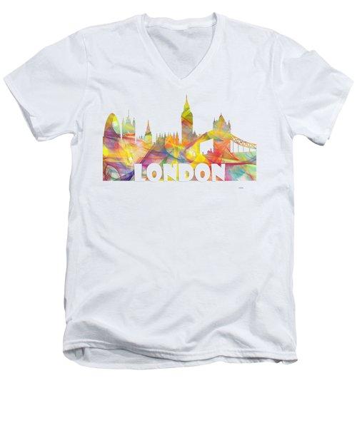 London England Skyline Men's V-Neck T-Shirt