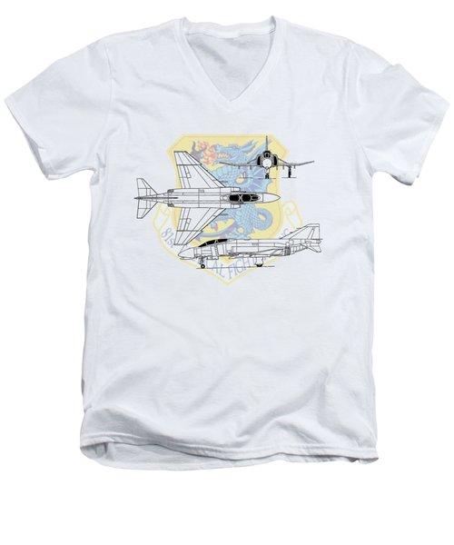 Men's V-Neck T-Shirt featuring the digital art Mcdonnell Douglas F-4d Phantom II by Arthur Eggers