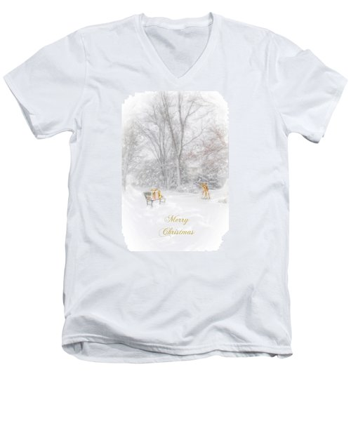 Men's V-Neck T-Shirt featuring the photograph Merry Christmas by Mary Timman
