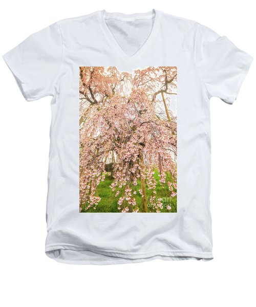 Men's V-Neck T-Shirt featuring the photograph Miharu Takizakura Weeping Cherry03 by Tatsuya Atarashi