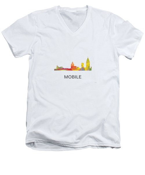 Mobile Alabama Skyline Men's V-Neck T-Shirt