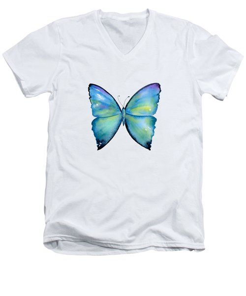2 Morpho Aega Butterfly Men's V-Neck T-Shirt