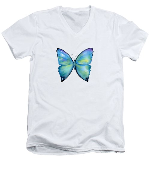 2 Morpho Aega Butterfly Men's V-Neck T-Shirt