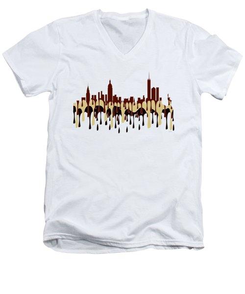 New York Ny Skyline Men's V-Neck T-Shirt
