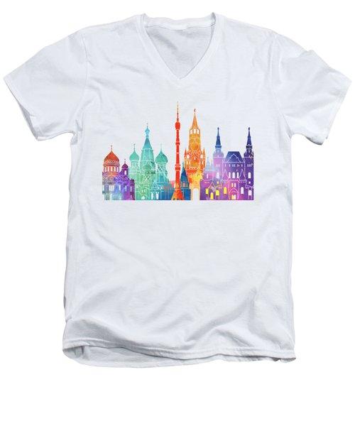 Paris Landmarks Watercolor Poster Men's V-Neck T-Shirt