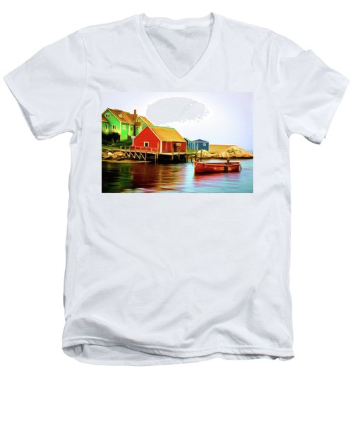 Peggy's Cove Men's V-Neck T-Shirt by Andre Faubert