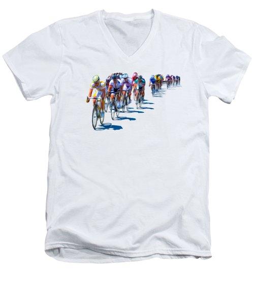 Philadelphia Bike Race Men's V-Neck T-Shirt by Bill Cannon