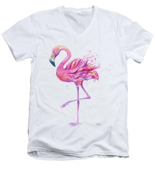 Pink Flamingo Watercolor Men's V-Neck T-Shirt