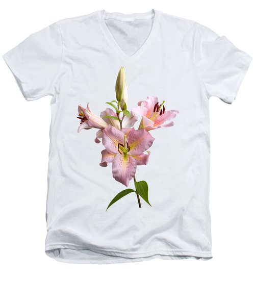 Pink Lilies On Cream Men's V-Neck T-Shirt
