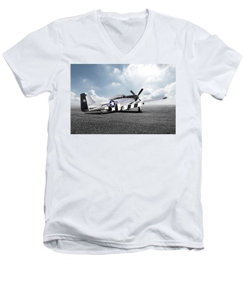 Men's V-Neck T-Shirt featuring the digital art Quick Silver P-51 by Peter Chilelli
