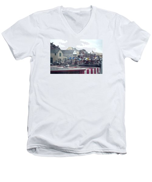 Men's V-Neck T-Shirt featuring the photograph Nor' Easter At Portsmouth by Richard Ortolano