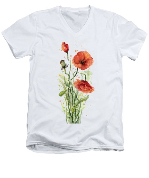 Red Poppies Watercolor Men's V-Neck T-Shirt