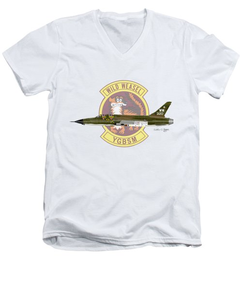 Republic F-105g Thunderchief 561tfs Men's V-Neck T-Shirt by Arthur Eggers