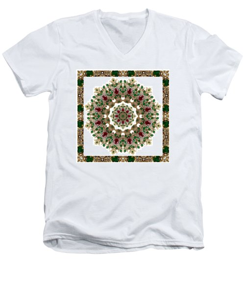 Ruby And Emerald Kaleidoscope Men's V-Neck T-Shirt