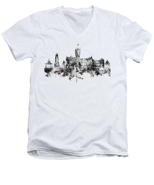 Rutherglen Scotland Skyline Men's V-Neck T-Shirt by Marlene Watson