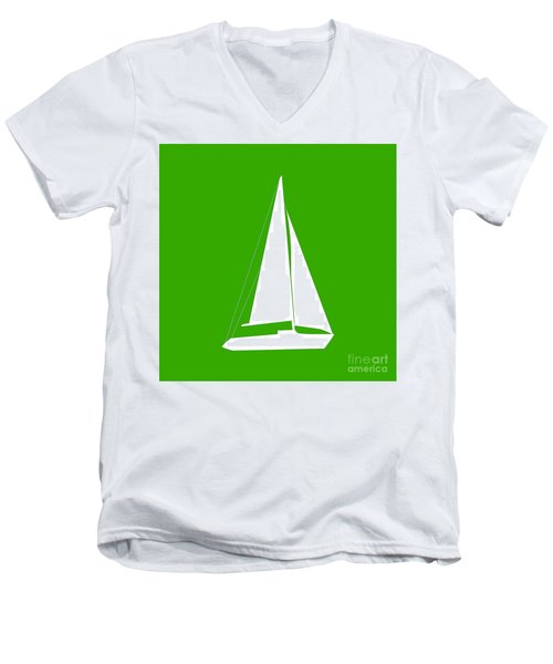 Sailboat In Green And White Men's V-Neck T-Shirt