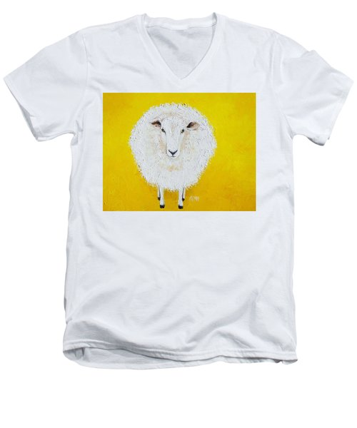 Sheep Painting On Yellow Background Men's V-Neck T-Shirt