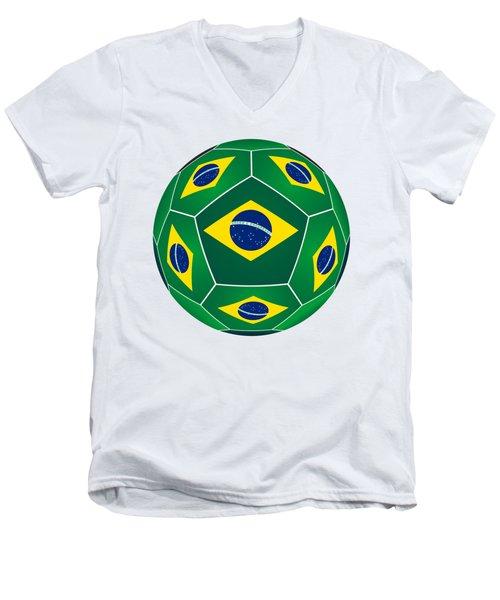 Soccer Ball With Brazilian Flag Men's V-Neck T-Shirt