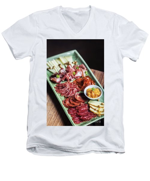 Spanish Smoked Meats Ham And Cheese Platter Starter Dish Men's V-Neck T-Shirt