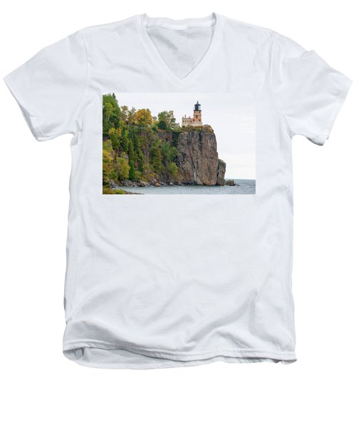 Split Rock Lighthouse Men's V-Neck T-Shirt by Steve Stuller