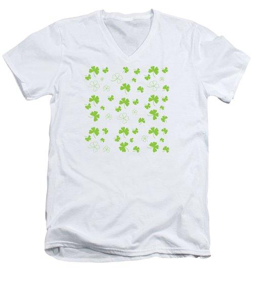 St. Patrick's Four Leaf Clover Background Men's V-Neck T-Shirt