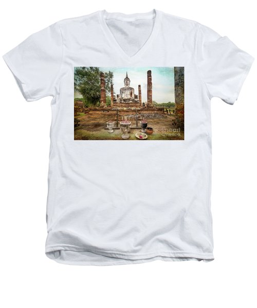 Men's V-Neck T-Shirt featuring the photograph Sukhothai Buddha by Adrian Evans