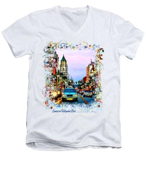 Sunset On Hollywood Blvd Men's V-Neck T-Shirt by Jennie Breeze