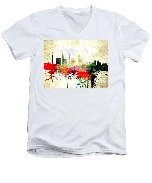 Tokyo Men's V-Neck T-Shirt by Daniel Janda