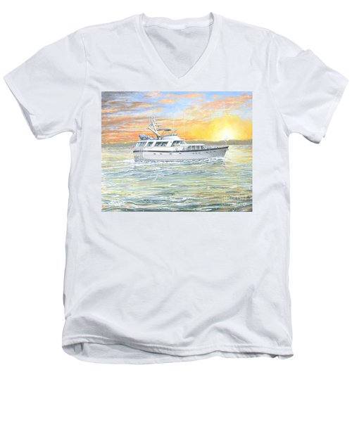 Men's V-Neck T-Shirt featuring the painting Untitled by Bob George