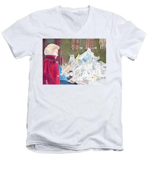 Men's V-Neck T-Shirt featuring the drawing Unwrap by Yoshiko Mishina
