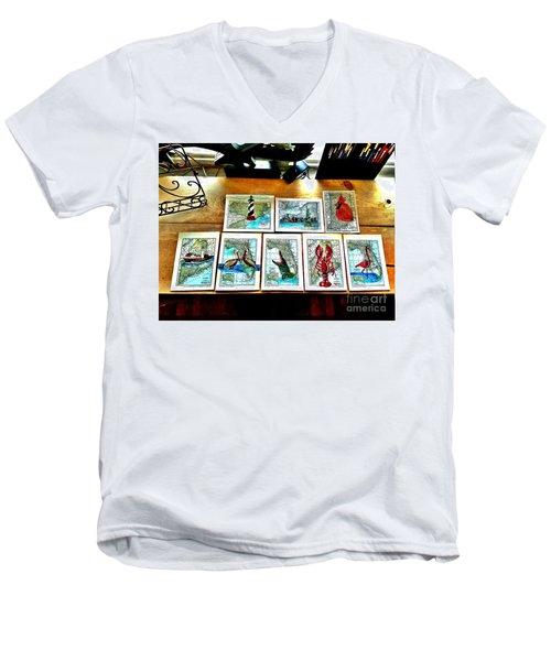 Vintage Map Art Men's V-Neck T-Shirt by Scott D Van Osdol