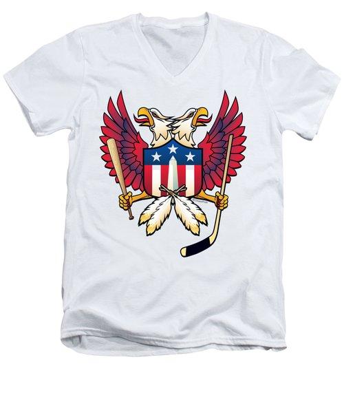 Washington Dc Double Eagle Sports Fan Crest Men's V-Neck T-Shirt