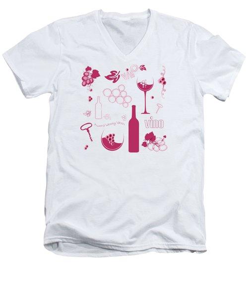 Wine Background Pattern Men's V-Neck T-Shirt
