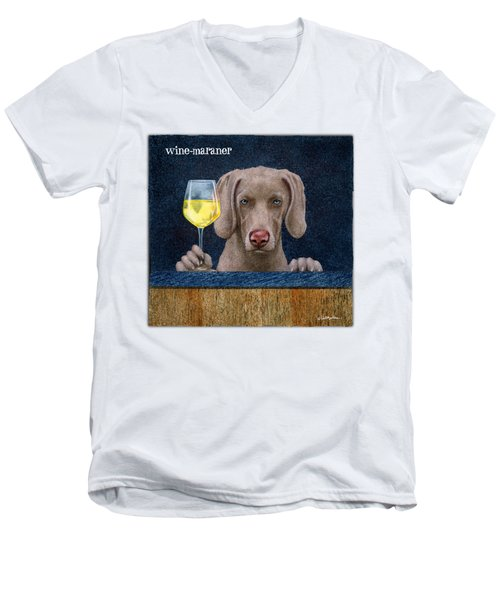 Wine-maraner Men's V-Neck T-Shirt by Will Bullas
