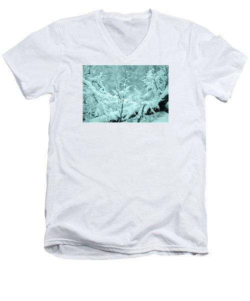 Men's V-Neck T-Shirt featuring the photograph Winter Wonderland In Switzerland by Susanne Van Hulst