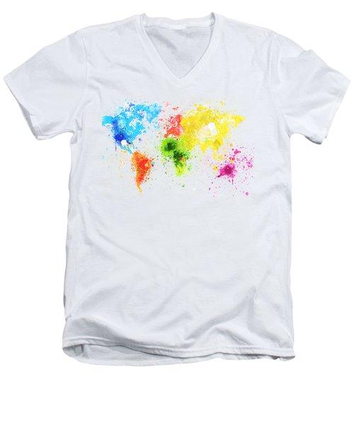 Men's V-Neck T-Shirt featuring the painting World Map Painting by Setsiri Silapasuwanchai