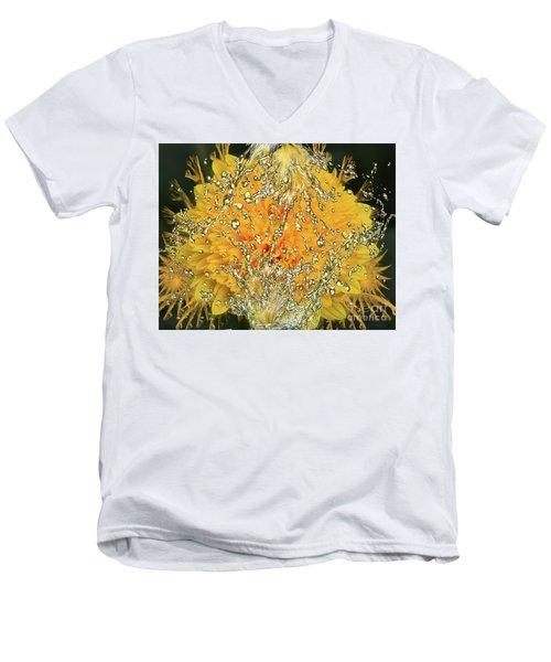 Yellow Dahlia Men's V-Neck T-Shirt by Elvira Ladocki