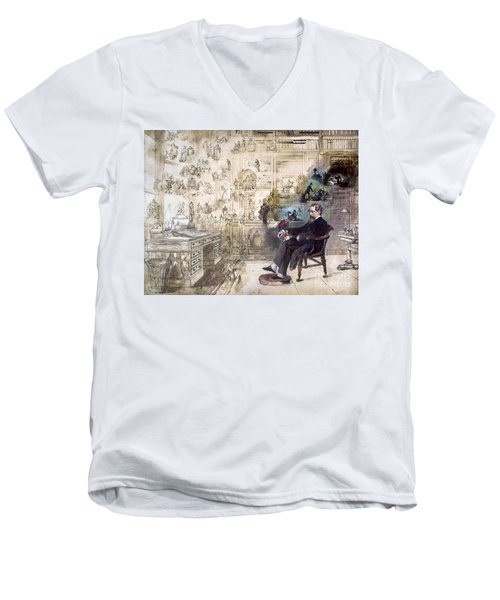 Charles Dickens (1812-1870) Men's V-Neck T-Shirt by Granger