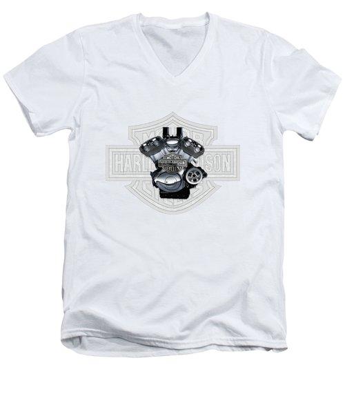 Men's V-Neck T-Shirt featuring the digital art 2002 Harley-davidson Revolution Engine With 3d Badge  by Serge Averbukh