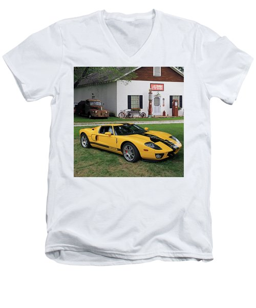 Men's V-Neck T-Shirt featuring the photograph 2005 Ford Gt by Christopher McKenzie