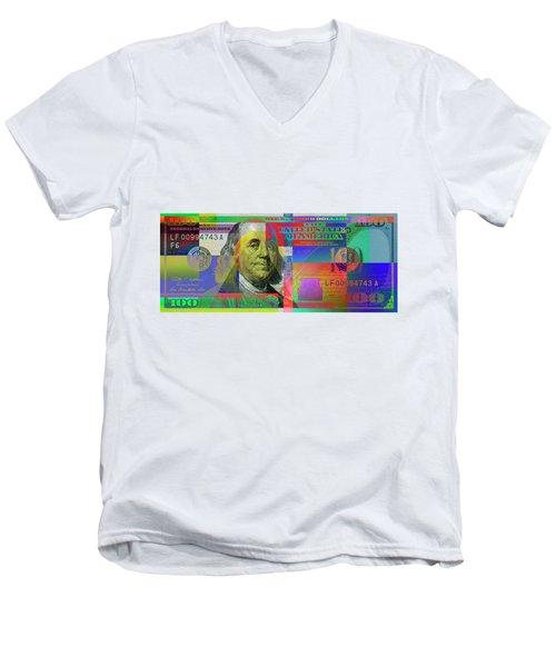 2009 Series Pop Art Colorized U. S. One Hundred Dollar Bill No. 1 Men's V-Neck T-Shirt