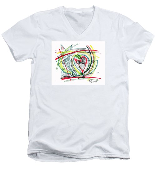 2010 Abstract Drawing Eighteen Men's V-Neck T-Shirt by Lynne Taetzsch